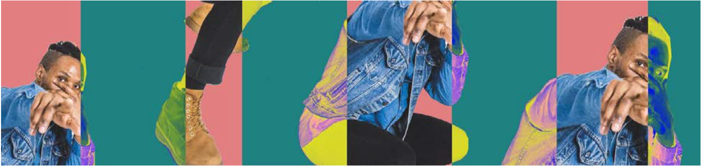 Rectangular blocks in different colors contain images of a black individual in a jean jacket pointing. Each block is colored pink and turquoise and contains fragmented images of the individual