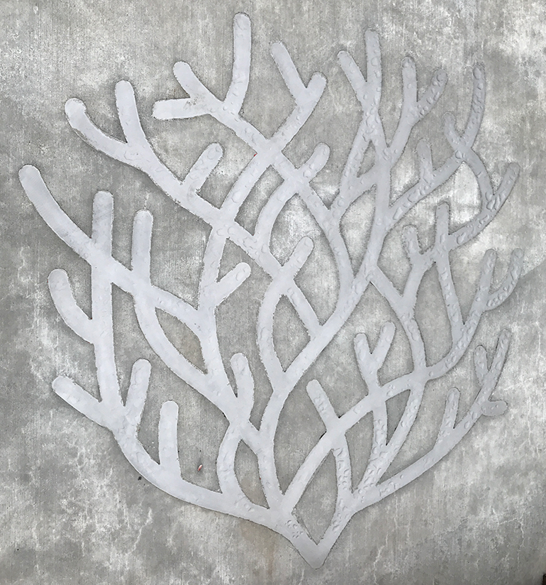 An image of a kelp bed made up of steel embedded into concrete.