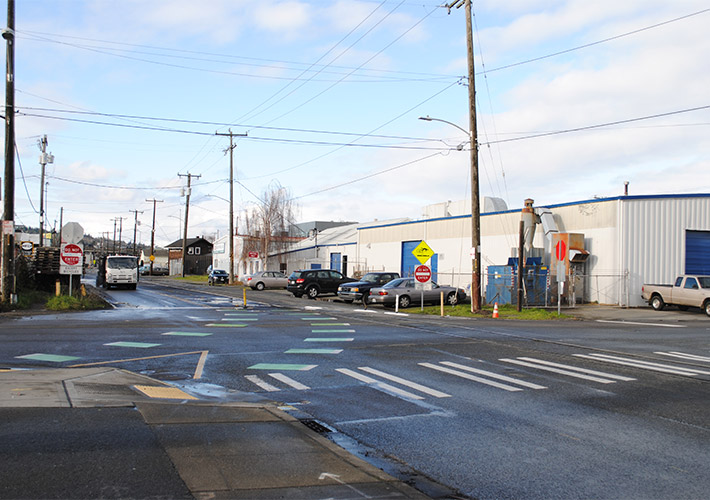 A four-way intersection near the future site of East Ballard vertical shaft at Northwest 45th Street and 11th Avenue Northwest.
