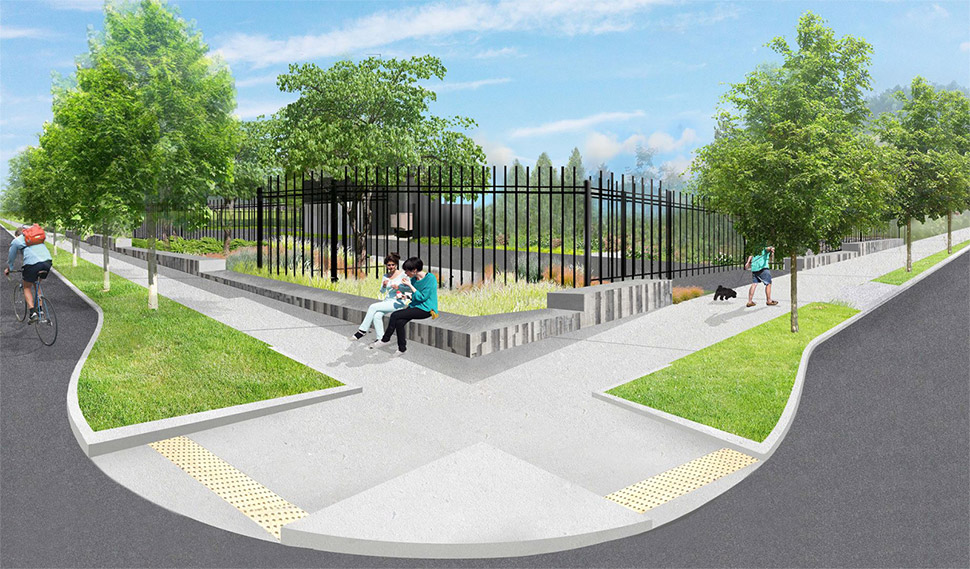 A graphic rendering that depicts two individuals sitting on a concrete wall in front of landscaping and a black fence at the future Wallingford site.