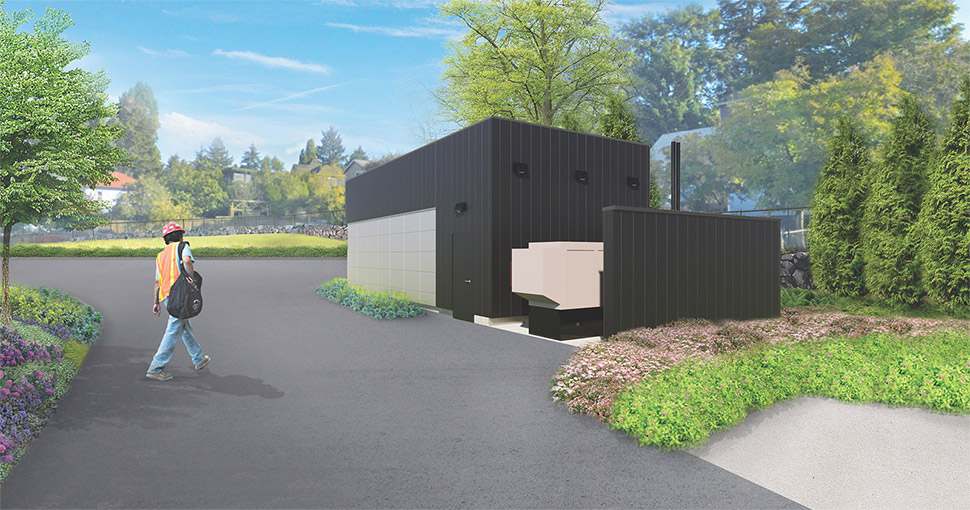 A graphic rendering depicting a black electrical building at the future Wallingford site. A bicyclist is riding by the building on the road.