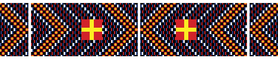 An embroidered image containing cross designs of blue, red, black, white. A larger image of yellow cross on a red background is mirrored near the center of the artwork.