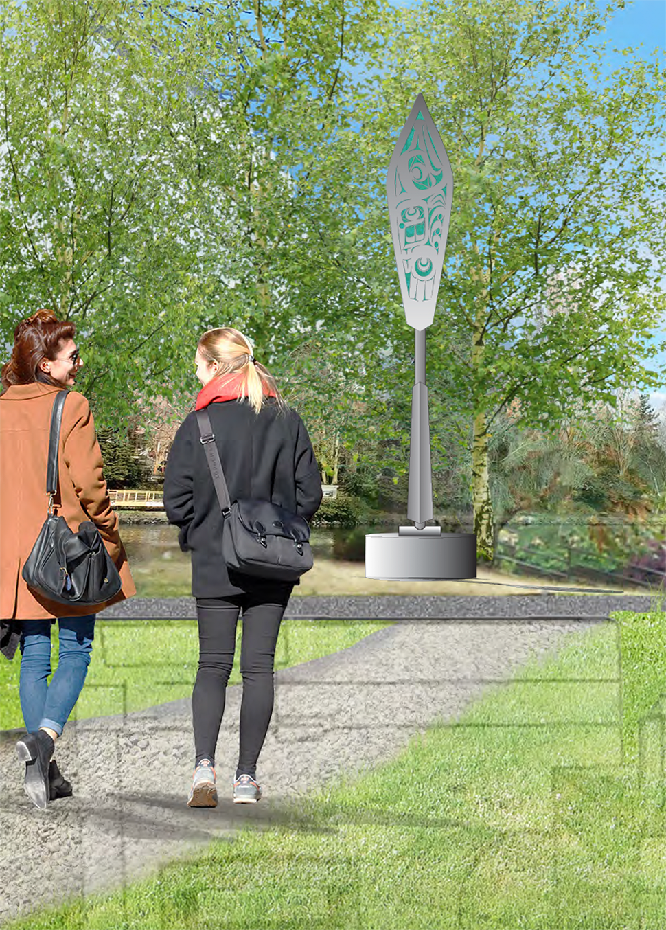 A digitally enhanced image of two women walking along a gravel path between two sections of lawn on a sunny day at the park. At the end of the path is a large, steel canoe paddle that contains form design at the end of the paddle.