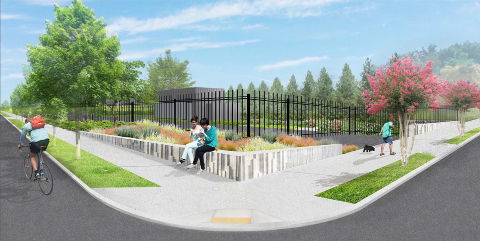 An animated image of the projected Wallingford project site shows a person riding their bike along the intersection, two people chatting on the sidewalk and a person walking their dog on a sunny day. A black fence encases the project site.