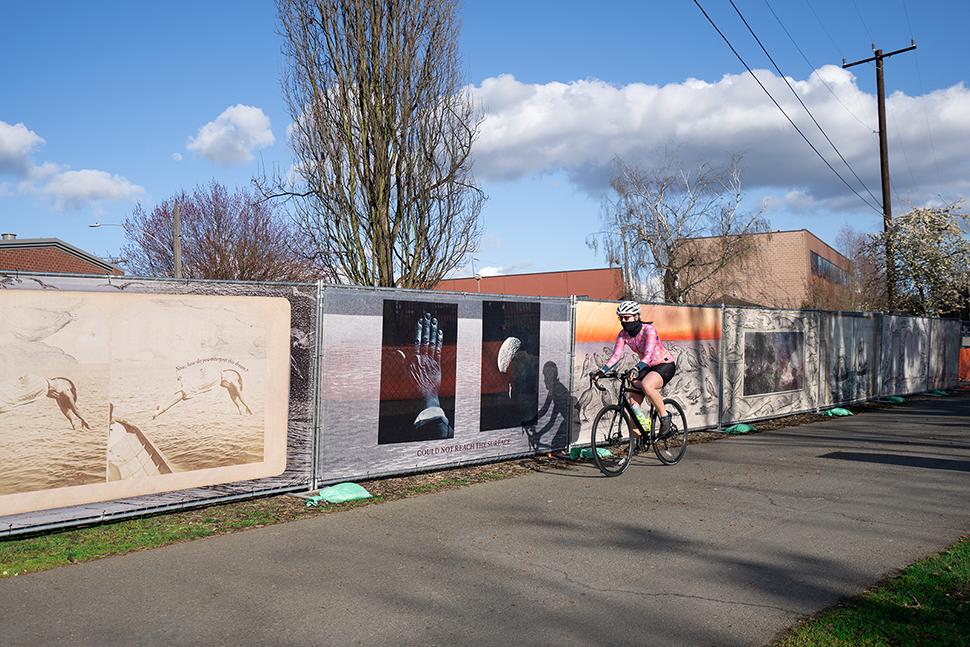 Whitney Lynn's artwork can be seen alongside the Burke-Gilman Trail