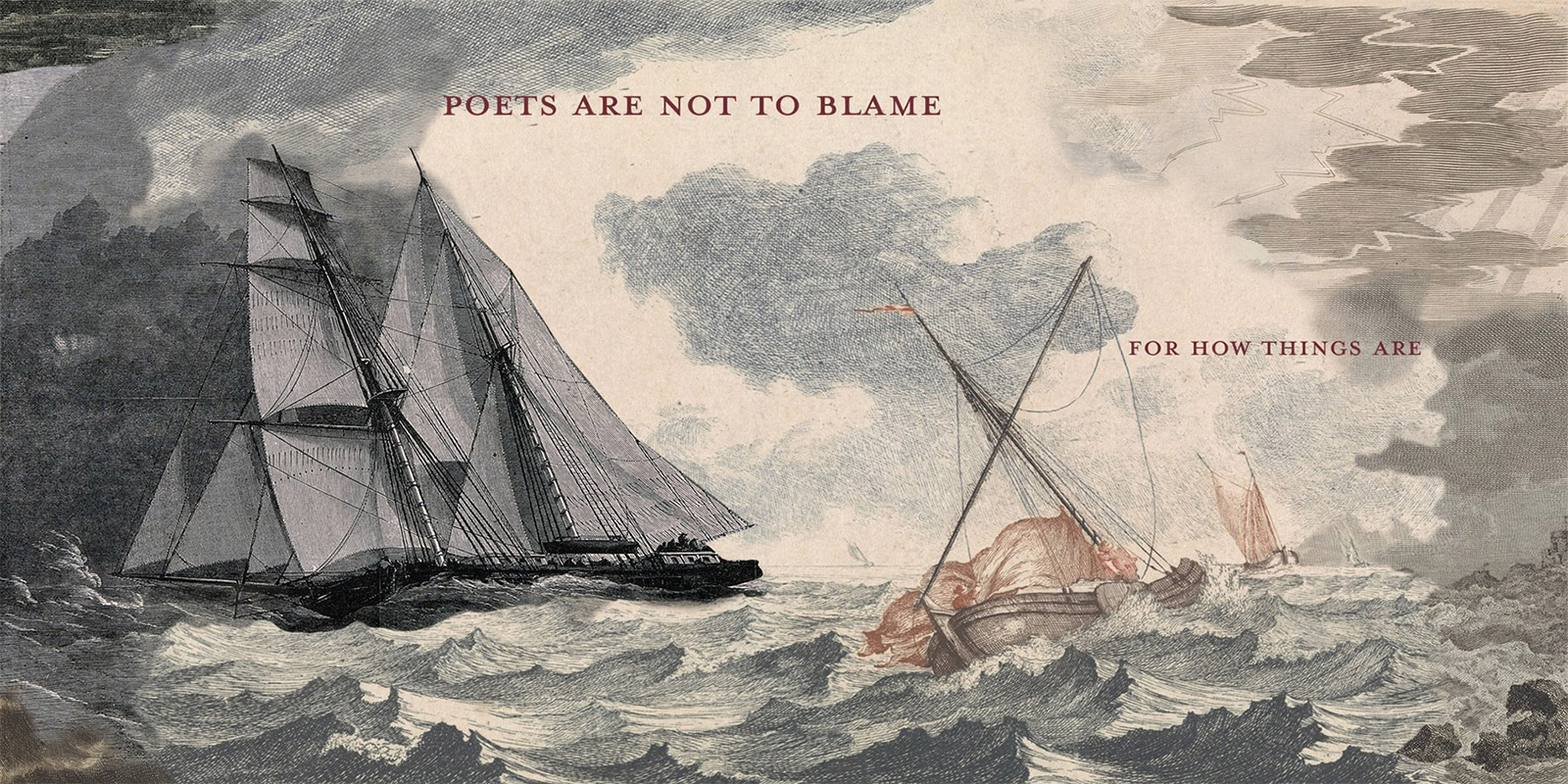 A painting of two ships in the ocean during the middle of a turbulent storm.