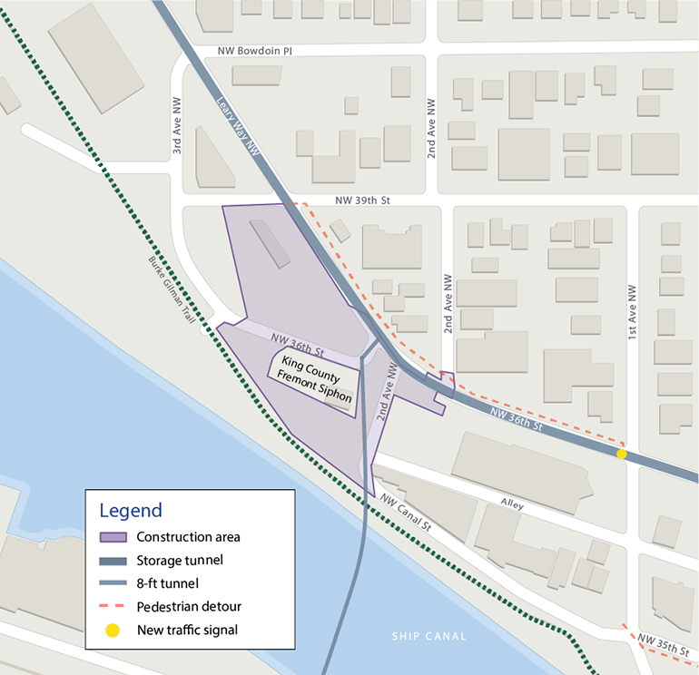 aerial map of the project sitesituated between Leary Way Northwest and the Burke Gilman Trail. The dotted orange line along first avenue Northwest and Northwest 36th Street denotes the pedestrian detour. A small blue line that runs from the project area and across the Ship Canal represents the microtunnel placement.